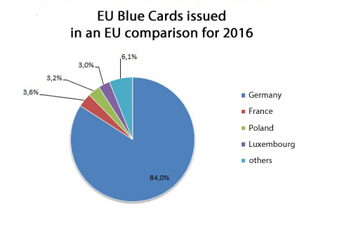 A pie chart shows which EU countries issue what shares of EU Blue Cards.